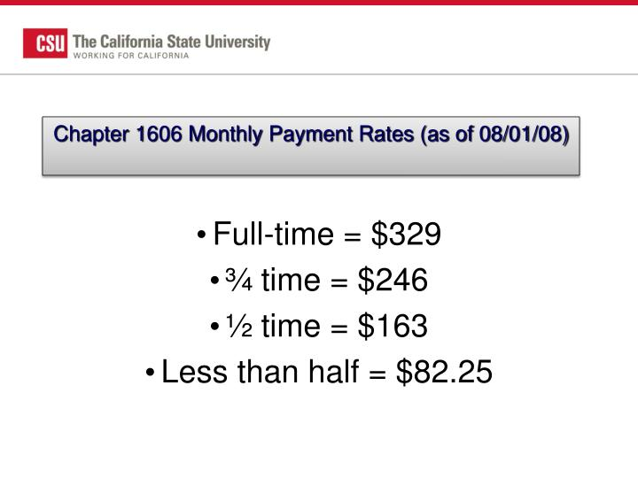 Chapter 1606 Monthly Payment Rates (as of 08/01/08)
