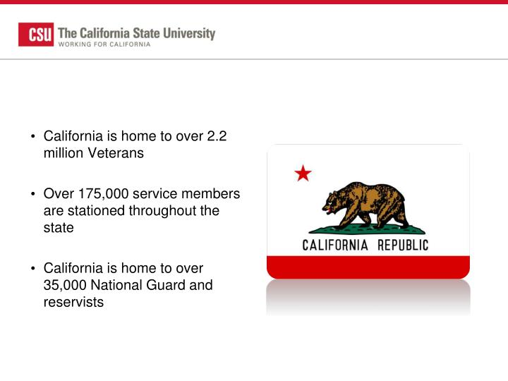 California is home to over 2.2 million Veterans