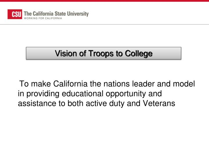Vision of Troops to College