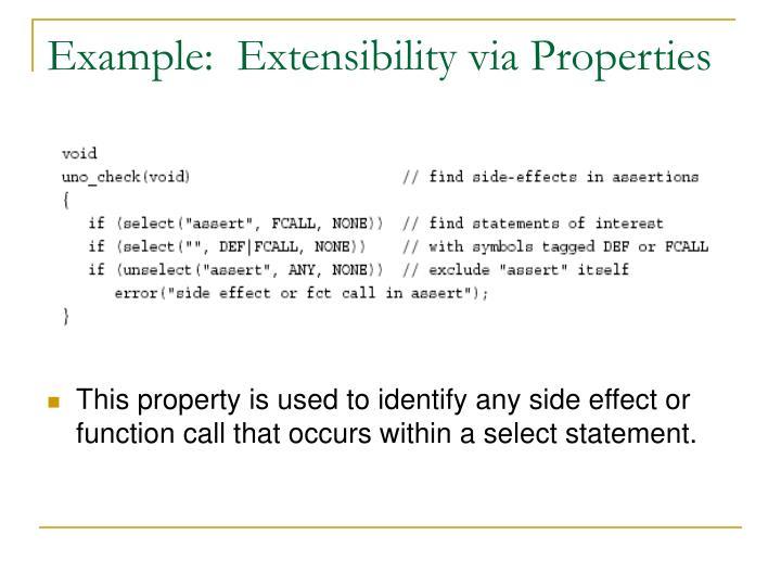 Example:  Extensibility via Properties