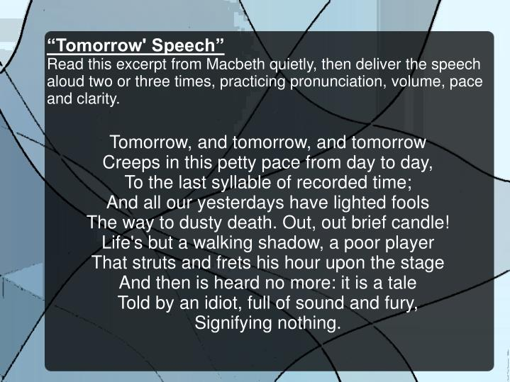 """Tomorrow' Speech"""