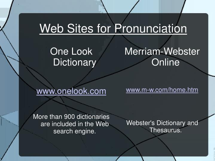 Web Sites for Pronunciation