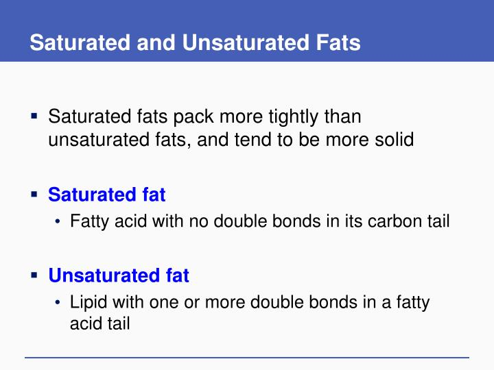 Saturated and Unsaturated Fats