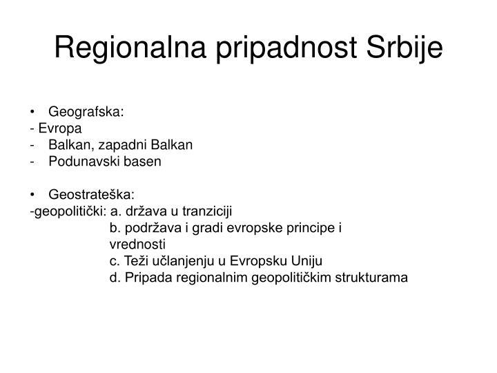 Regionalna pripadnost srbije