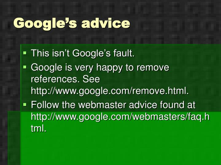 Google's advice