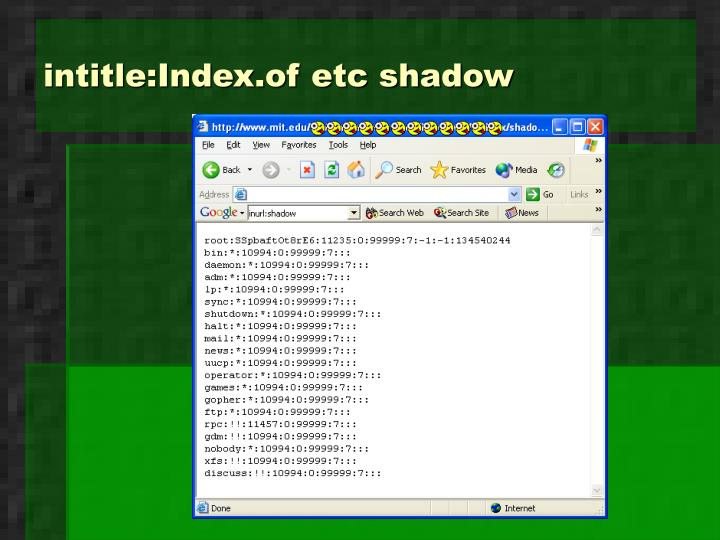 intitle:Index.of etc shadow