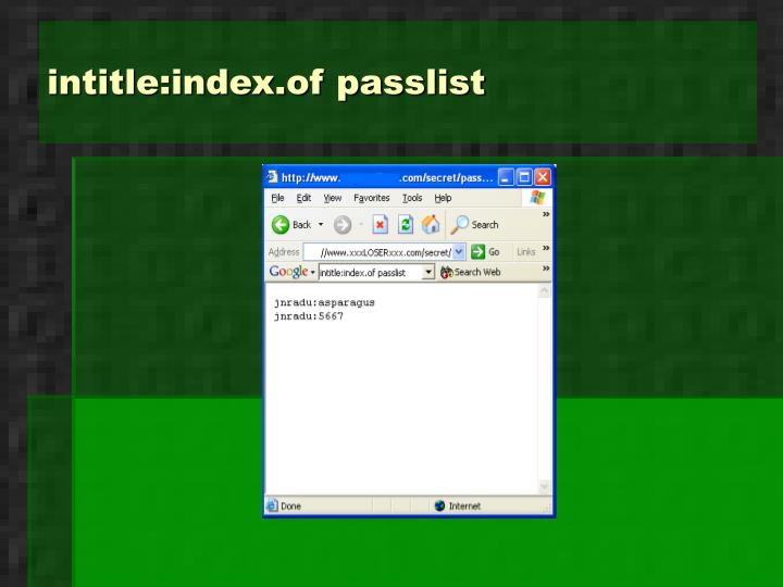 intitle:index.of passlist