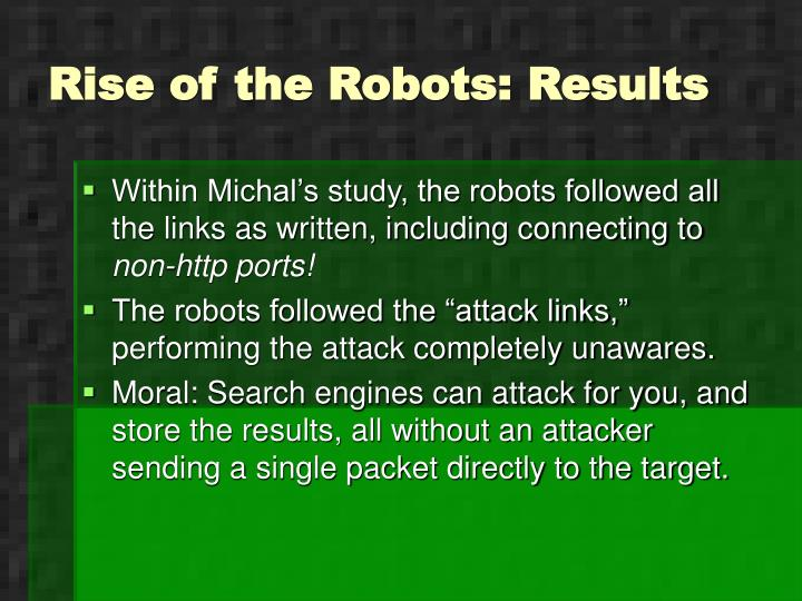 Rise of the Robots: Results