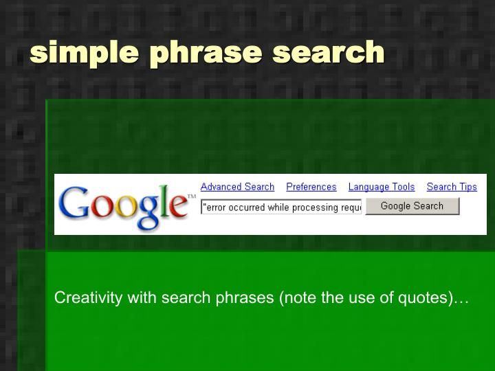 simple phrase search