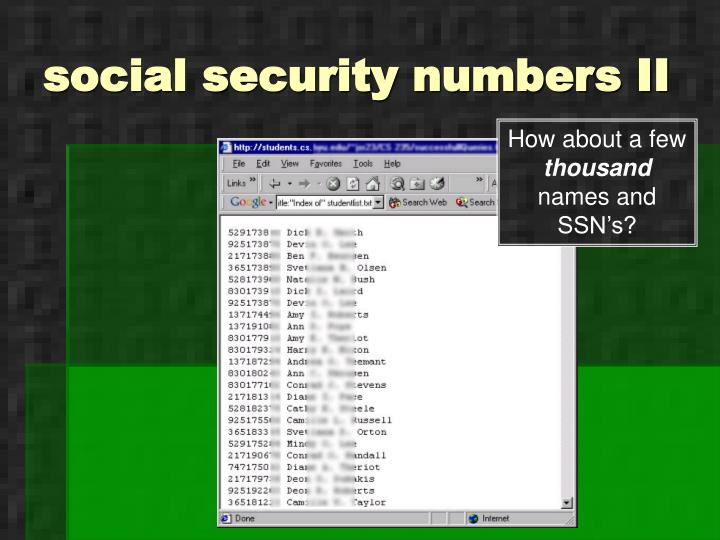 social security numbers II