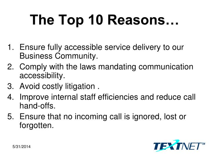 The Top 10 Reasons…