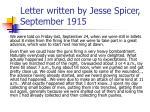 letter written by jesse spicer september 1915