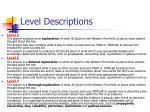 level descriptions