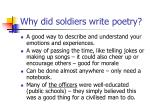 why did soldiers write poetry