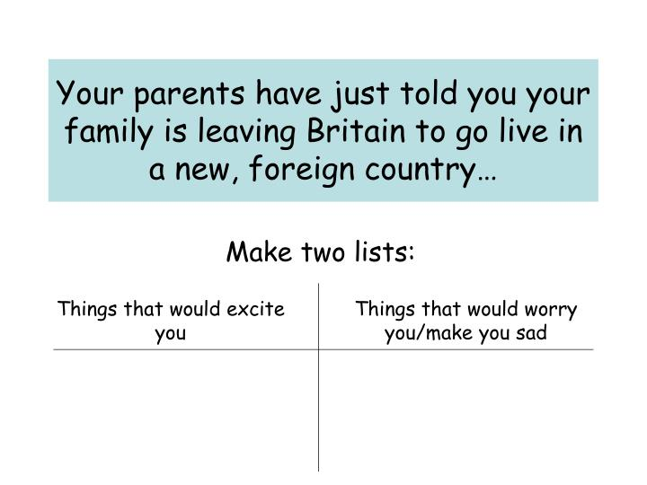 Your parents have just told you your family is leaving britain to go live in a new foreign country
