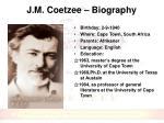 j m coetzee biography