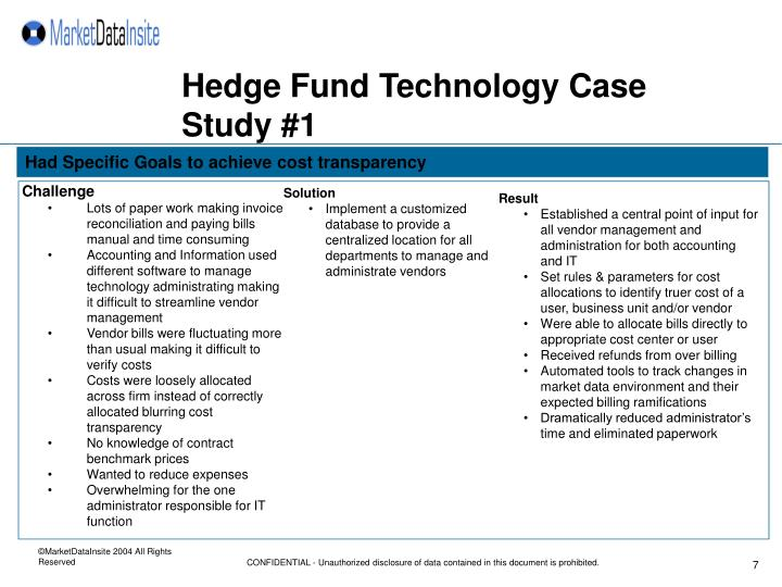 Hedge Fund Technology Case Study #1