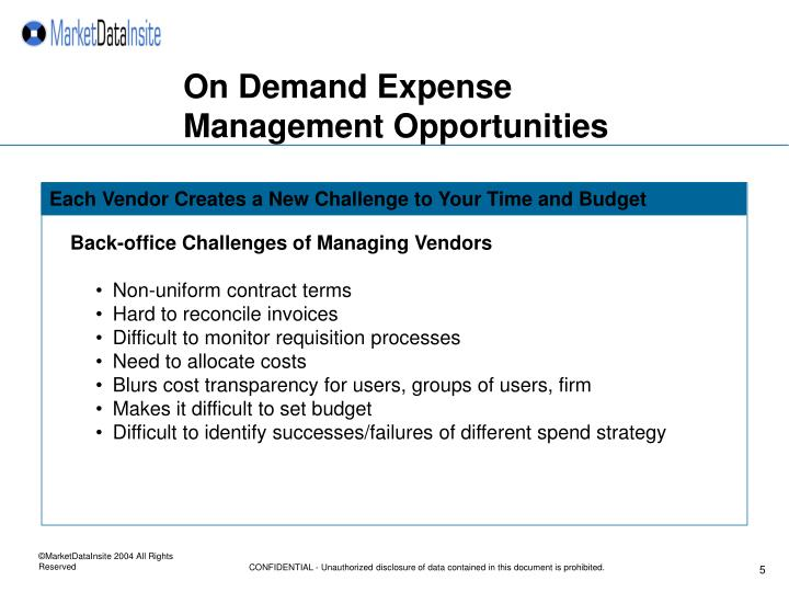 On Demand Expense Management Opportunities