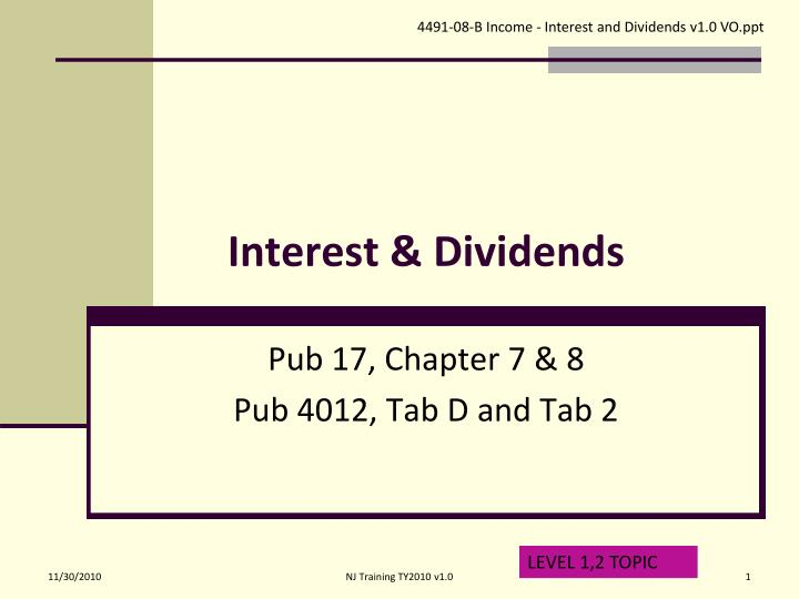 interest dividends n.