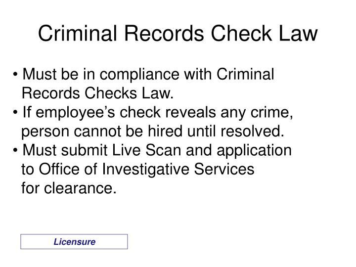 Criminal Records Check Law