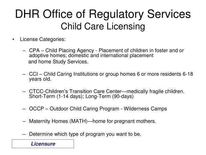 DHR Office of Regulatory Services
