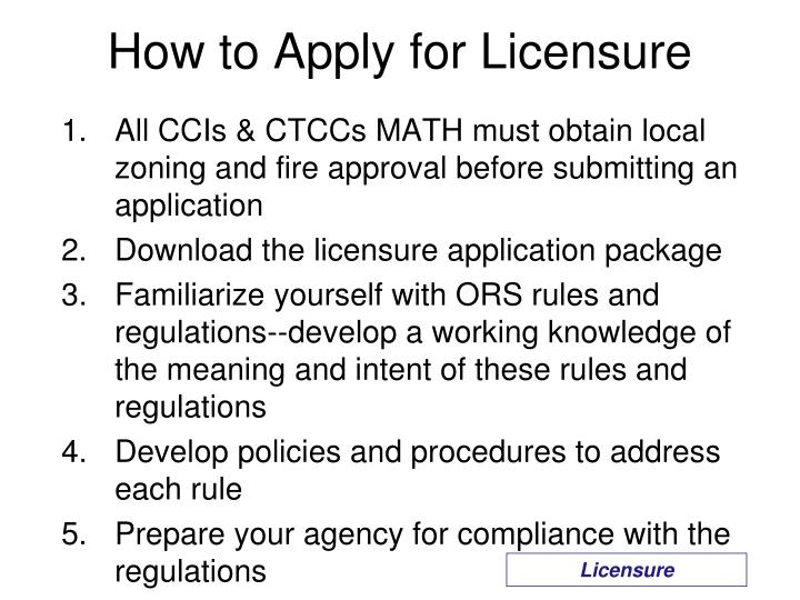 How to Apply for Licensure