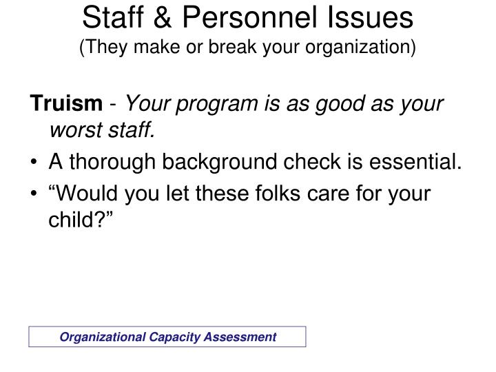 Staff & Personnel Issues