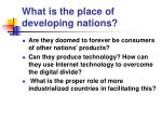 what is the place of developing nations