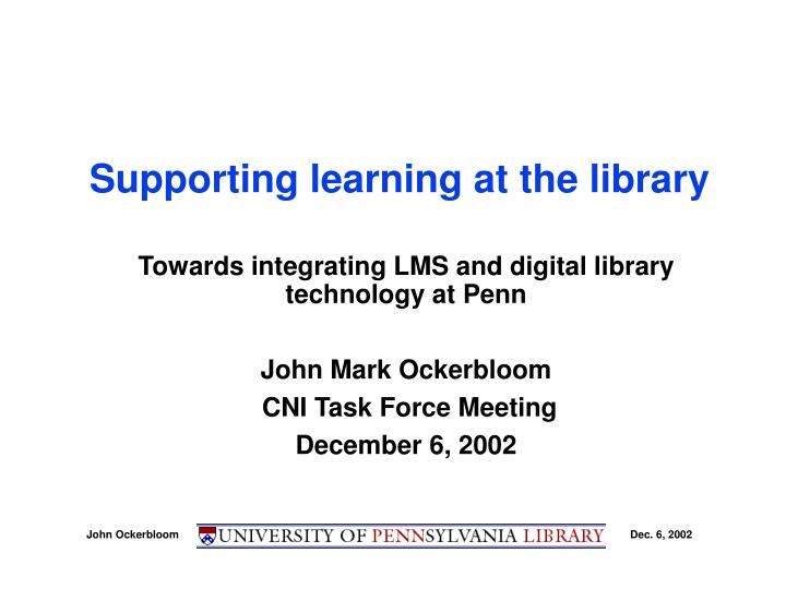 supporting learning at the library n.