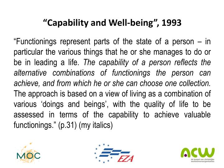"""""""Capability and Well-being"""", 1993"""