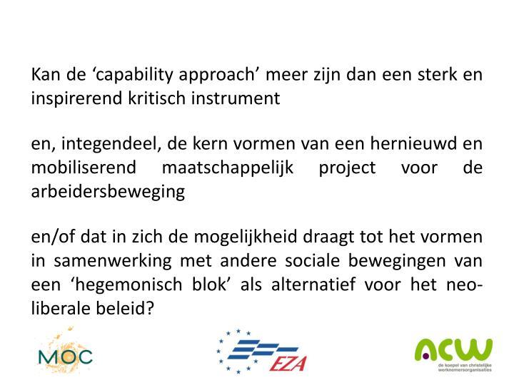 Kan de 'capability approach' meer zijn dan een sterk en inspirerend kritisch instrument