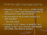 find the right marriage partner