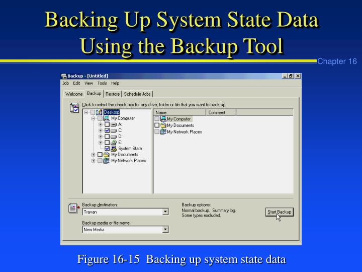 Backing Up System State Data Using the Backup Tool