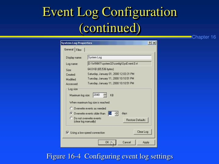 Event Log Configuration (continued)