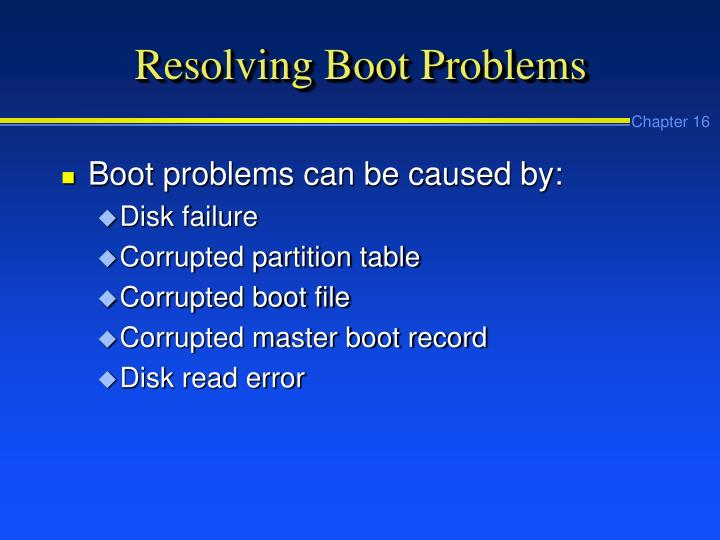 Resolving Boot Problems
