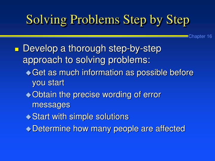 Solving Problems Step by Step