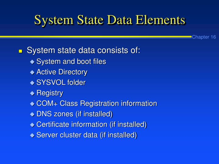 System State Data Elements