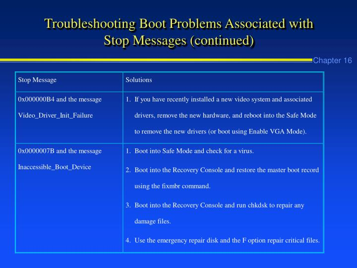 Troubleshooting Boot Problems Associated with Stop Messages (continued)