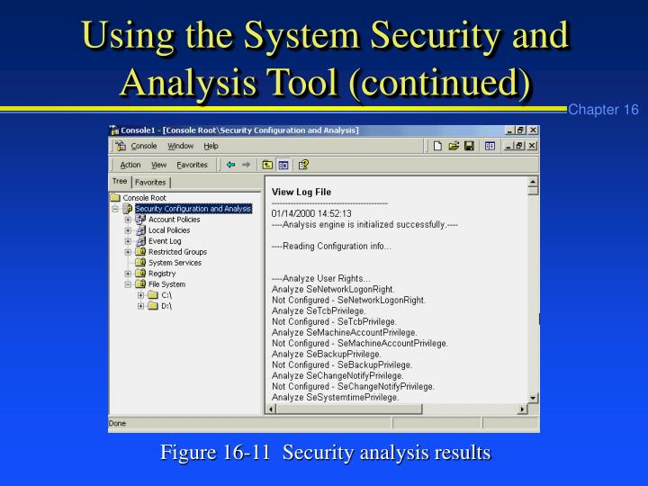 Using the System Security and Analysis Tool (continued)