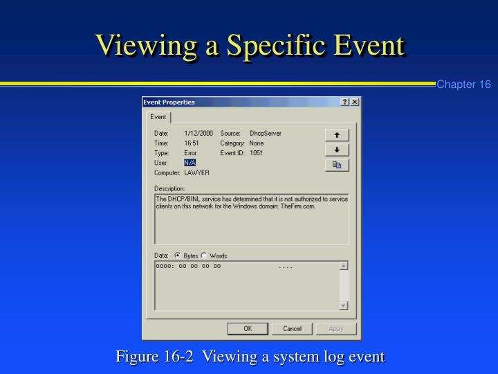 Viewing a Specific Event