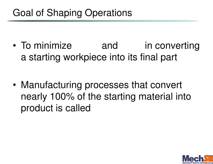 Goal of Shaping Operations