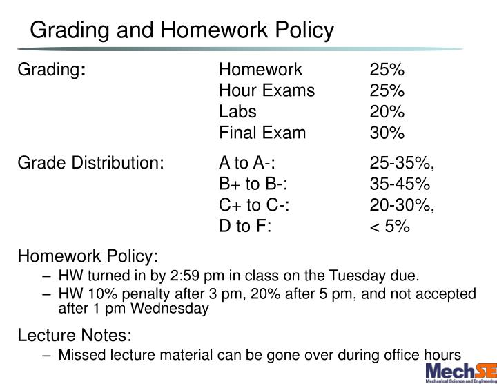 Grading and homework policy