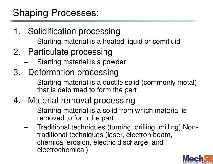 Shaping Processes: