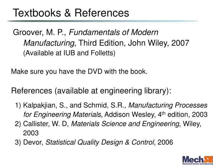 Textbooks references