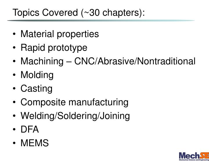 Topics Covered (~30 chapters):