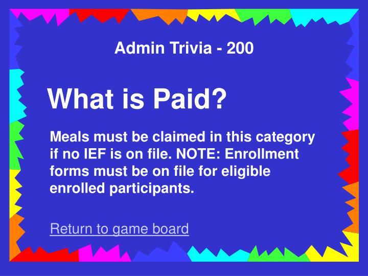 Admin Trivia - 200