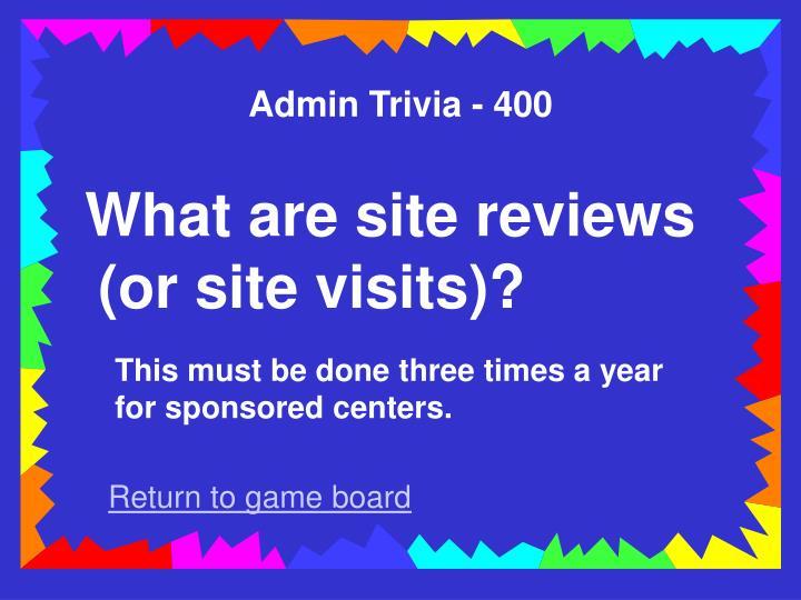 Admin Trivia - 400