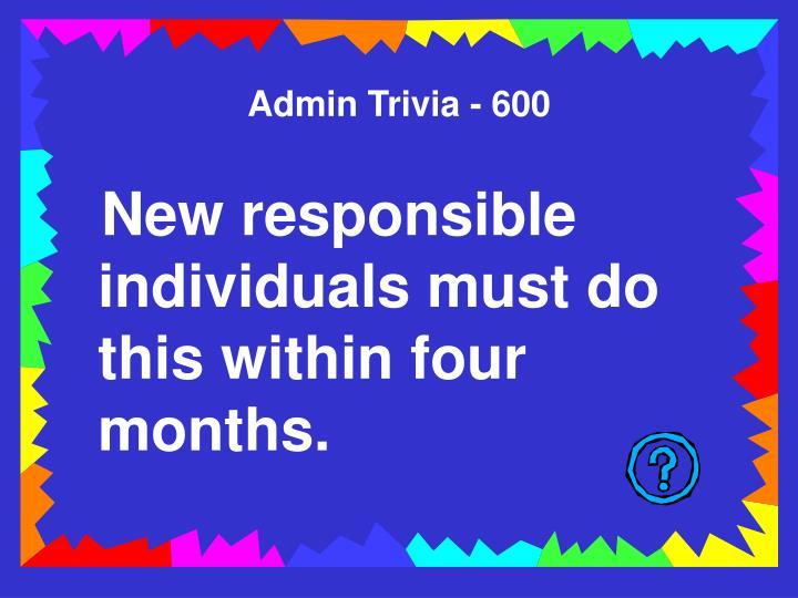 Admin Trivia - 600