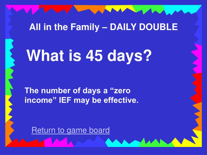 All in the Family – DAILY DOUBLE