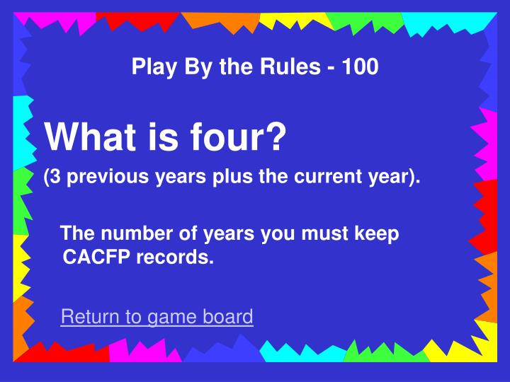 Play By the Rules - 100